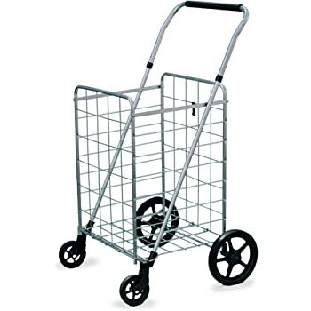 Newly Launched Medium Grocery Utility Carts with Front Swivel Wheels by AFT Pro USA,Foldable and Collapsible,Heavy Duty Loading Easy to Put On Wheels,Package Size 38x18.5x2.5in Light Weight Trolley
