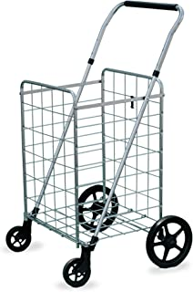 Wellmax Grocery Shopping Cart with Swivel Wheels, Foldable and Collapsible Utility Cart with Adjustable Height Handle, Heavy Duty Light Weight Trolley