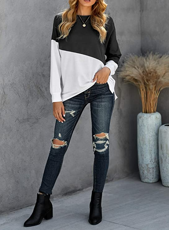 Biucly Women's Fashion Crewneck Long Sleeve Color Block Sweatshirts Black Oversized Loose Casual Halloween Super Cute Soft Pullover Shirt Blouse Tops Sweatshirt for Teen Girls Small