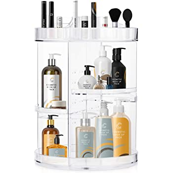 COOLBEAR Makeup Organizer,360 Degree Rotating Adjustable Acrylic Cosmetic Storage Display Case,6 Layers Large Capacity Makeup Storage for Perfumes,Makeup Brushes,Lipsticks and More,Clear Transparent