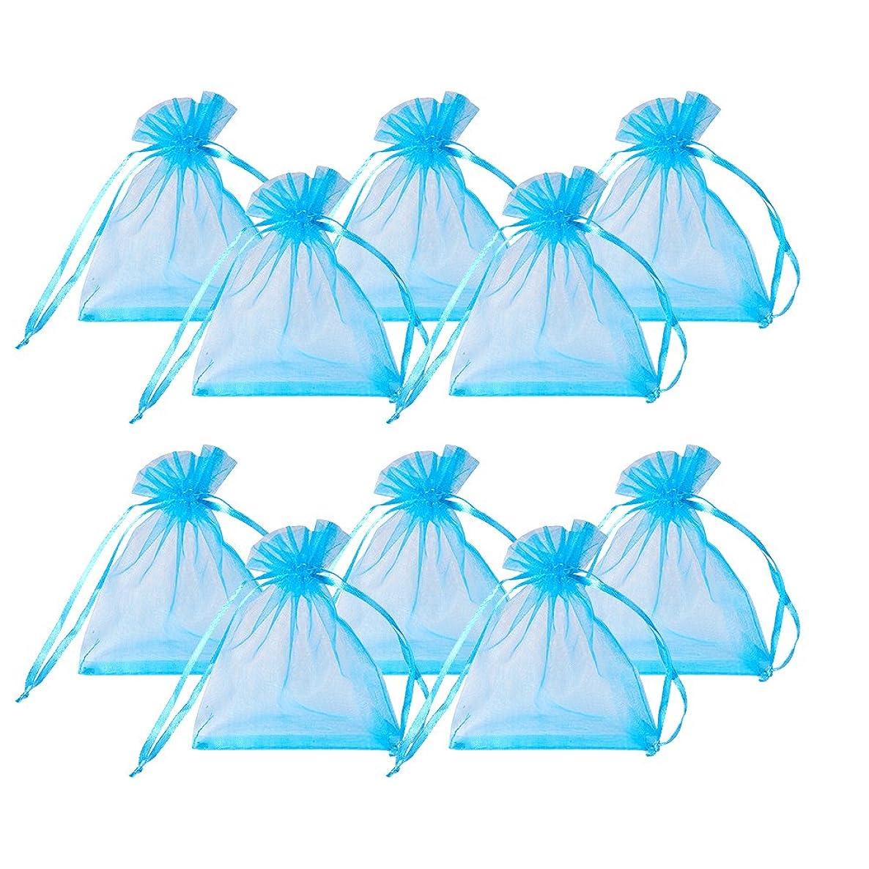 PandaHall Elite 200 Pcs Blue Organza Drawstring Gift Pouch Wrap Favor Bag for Party Wedding 4.7x3.9''