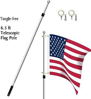Becko 6.5ft Heavy Duty Aluminum Alloy Telescopic Adjustable Anti-Winding Flag Pole - Silver