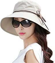 EUBUY Womens Summer Beach Foldable Wide Large Brim Sun Hat Anti UV Sun Cap UPF50+ Bucket Cord Hats