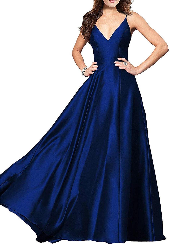 Falydal Women's Spaghetti Straps Satin Prom Dress V Neck A Line Evening Gowns