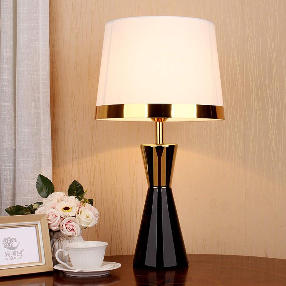 Hkly, moderna lampada da tavolo, in ceramica, con paralume in tessuto,  white 332-621-047B