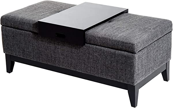 Godyluck 42 Linen Fabric Storage Ottoman Bench With Detachable Top Tray Weight Capacity 265 LBS Grey