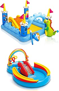 Intex Inflatable Fantasy Castle & Rainbow Ring Water Play Swimming Pool Center