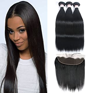 GRACE PLUS Peruvian Straight Hair 3 Bundles with Frontal Lace Closure 13x4 Ear to Ear Frontal Closure with Bundles 100% Unprocessed Human Hair Extensions Natural Color (18 20 22+16)