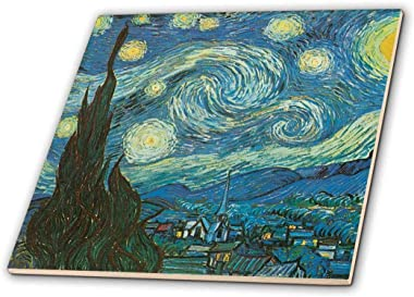 "3dRose Starry Night by Van Gogh Vintage - Ceramic Tile, 12"" (ct_164649_4)"