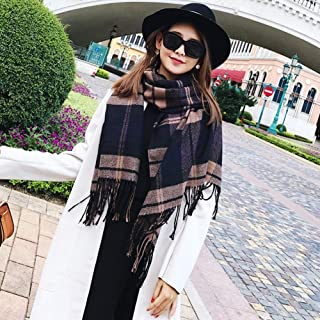 HZWLadies Scarf, Women Fashion Scarves Long Shawl Big Grid Classic Tassel Fall Winter Scarf Pure Natural to Any Outfit Length200cm Width70cm(A Variety of Styles),B