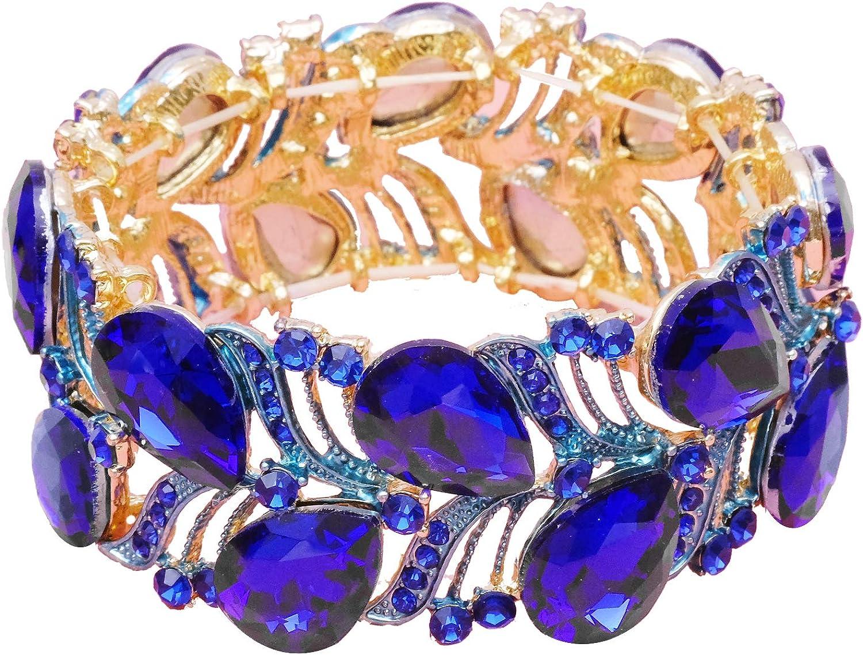 Women's Stretch Cuff Bangle Wedding Bridal Teardrop Crystal Wide Leaf Bracelet Statement Jewelry for Brides Bridesmaids