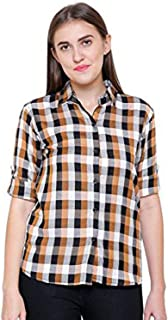C.Cozami Women Mustard/Purple/Blue/Brown/White Checkered Casual Shirt