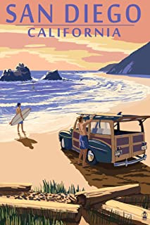 San Diego, California - Woody on Beach (12x18 Art Print, Wall Decor Travel Poster)