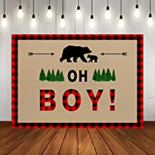 Oh Boy Baby Shower Backdrop It's A Boy Woodland Baby Shower Photography Background Wild One Buffalo Plaid Lumberjack Birthday Party Decorations Banner 7x5ft