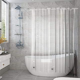 AooHome 防カビ シャワーカーテン 透明 120 × 150cm 防水 バスカーテン ユニットバス 浴室 間仕切り 北欧 クリア 清潔 フック付き 取付簡単