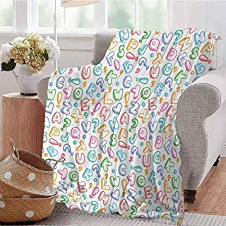 CRANELIN All Season Throw Blanket Chubby Letters in Fun Colors Kids Scribble Style ABC Symbols Hearts Comics Art Multicolor Sofa Camping Reading Car Travel W40 xL60