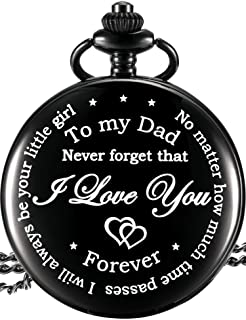 Dad from Daughter to Father Engraved Pocket Watch - No Matter How Much Time Passes, I Will Always Be Your Little Girl (Black)