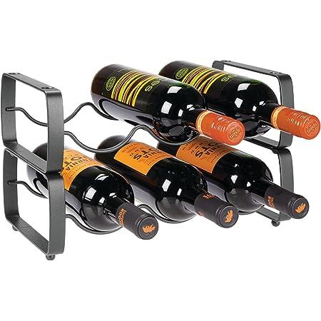 mDesign casier à bouteille (lot de 2) – range bouteille empilable en métal pour jusqu'à 3 bouteilles – porte bouteille pratique pour bouteilles de vin oder autres boissons – gris foncé
