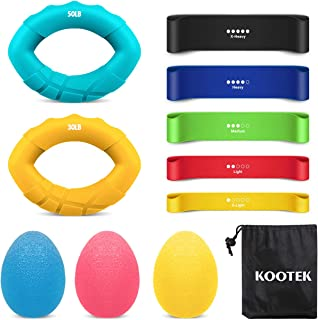 Kootek Hand Grip Strength Trainer - 5 Finger Loop Resistance Bands 3 Stress Relief Therapy Balls 2 Hand Squeeze Rings, Forearm Grip Workout Strengthener Gripper Exerciser for Athletes Musicians