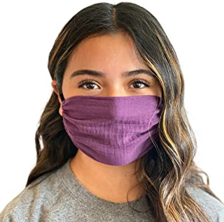 Adult Plum Mask, Breathable, Single Layer, Cotton, Lightweight, Washable, Adjustable and Reversible, 6x7