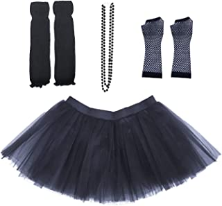 Dreamdanceworks 80s Fancy Costume Set - Tutu & Leg Warmers & Fishnet Gloves & Beads