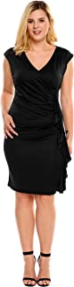 IN'VOLAND Women's Plus Size Square Collar 3/4 Sleeve Solid Work Party Bodycon Pencil Dress