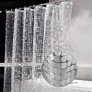 UNNI シャワーカーテン 防カビ 防水 半透明 間仕切り 120 x 180cm バスカーテン EVA 耐久性 保温性 ユニットバス お風呂カーテン 窓用 浴室 洗面所 リング付属 取付簡単 クリア 清潔 幾何柄 ホワイト