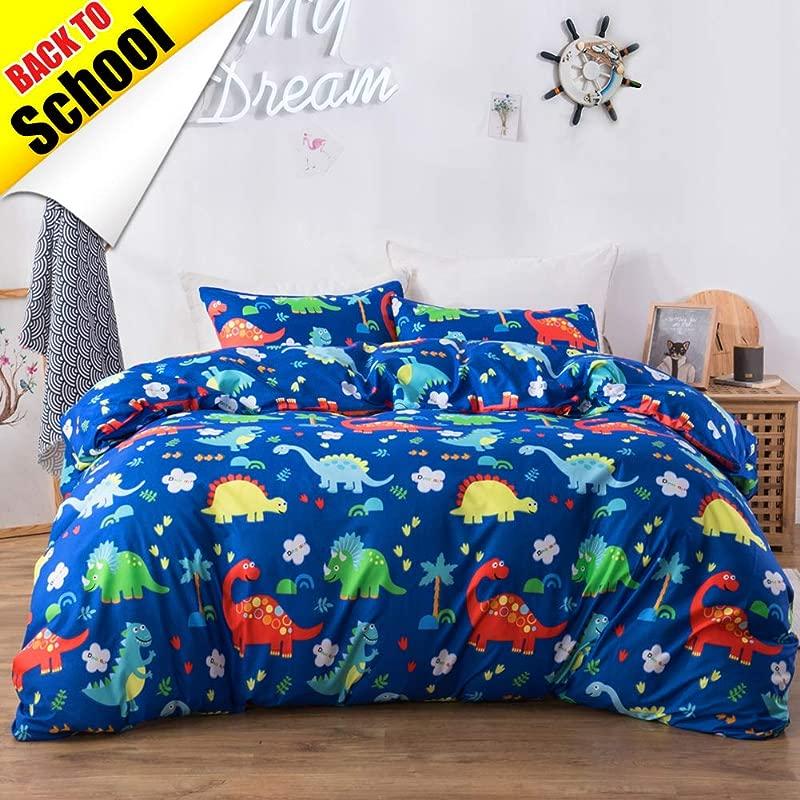 Macohome Dinosaur King Duvet Cover Set Boys Comforter Cover Set With 2 Pillowcases And 1 Duvet Cover Dinosaur King
