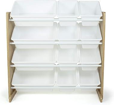 Humble Crew, Natural Wood/White Kids Toy Organizer with 12 Storage Bins