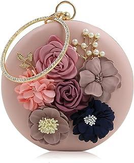 INOVERA Women Floral Evening Clutch Ladies Party Wedding Round Purse Bag, Rose Gold