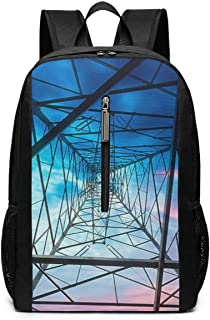 Large Laptop Backpack, Waterproof Business Carry On Backpack for Men Women, College School Durable Computer Bookbag,Water Bottle Pockets Daypack - Electricity_Power_Pylon