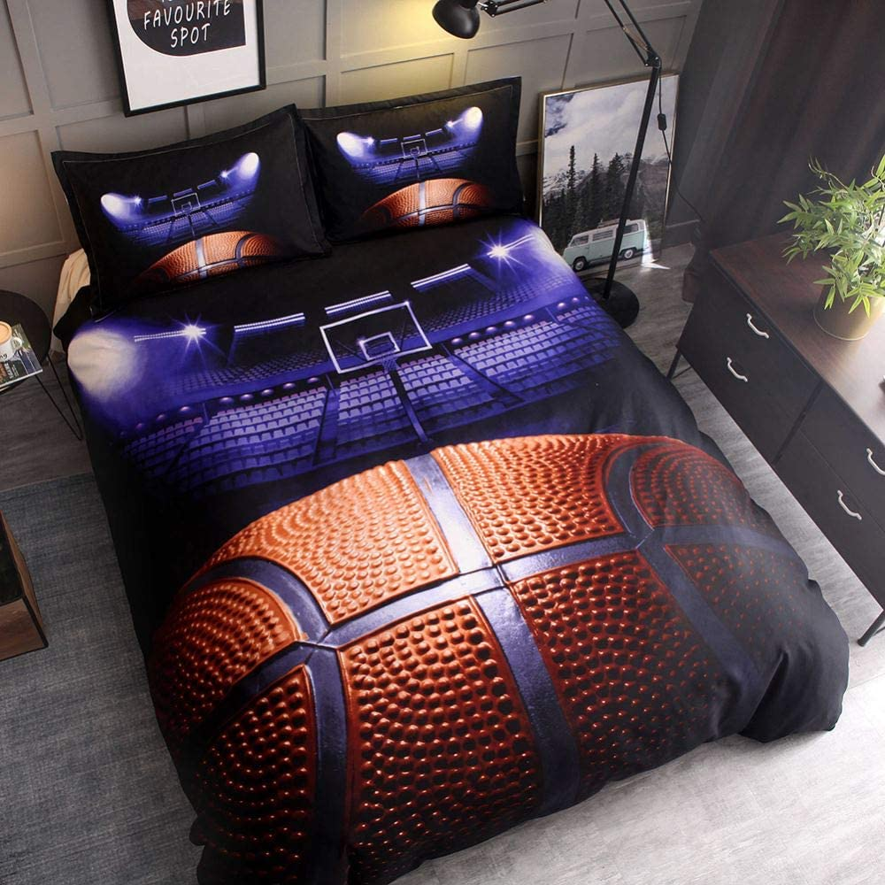 Girls and Teens- -2PCS-1xDuvet Cover+1xPillowcases,Twin Size Dthome 3D Sports Football Duvet Cover Set Bedding Football Microfiber Sport Duvet Cover Set for Boys No Comforter and Sheet