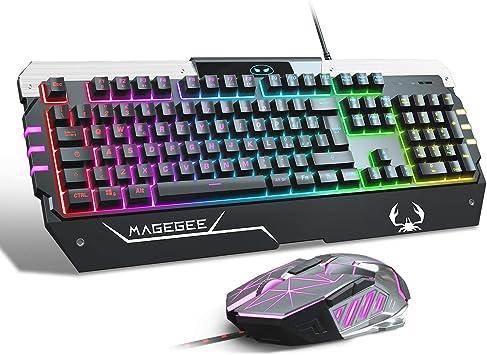 Juego de teclado y ratón para juegos USB RGB, GT817 104 Juego ...