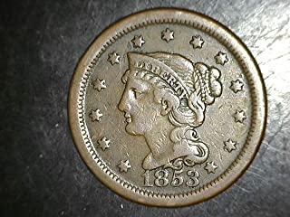 1853 Large Cent- Beautiful Strike - Exceptional Coin 1c VF Hard to Find in This Condition