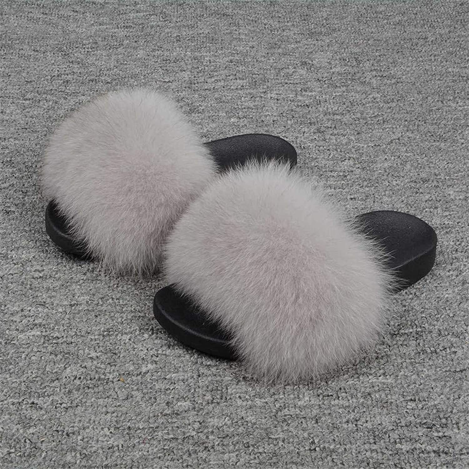 RTBQ.F Fox Slides Hair Slippers Fluffy Fur Sliders Furry Summer Beach Sandal shoes for Ladies Indoor Outdoors