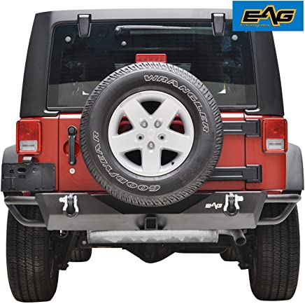 EAG Rear Bumper Tubular with Hitch Receiver and D-rings for 07-18 Jeep