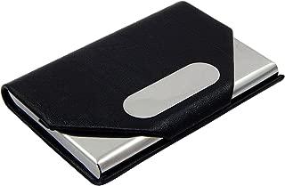 ELS PU Leather, Steel Credit Debit Business Visiting Card Holder for Men and Women - Black (CW-ELS-28-BL)