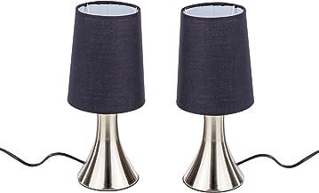 Set van 2 bedlampjes met touch-functie, kleur: zwart, touch lamp, 2 stuks in een set