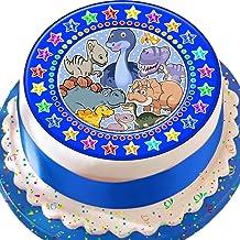 Cannellio Cakes Dinosaur Blue Star Border Birthday Precut Edible Icing Cake Topper Decoration