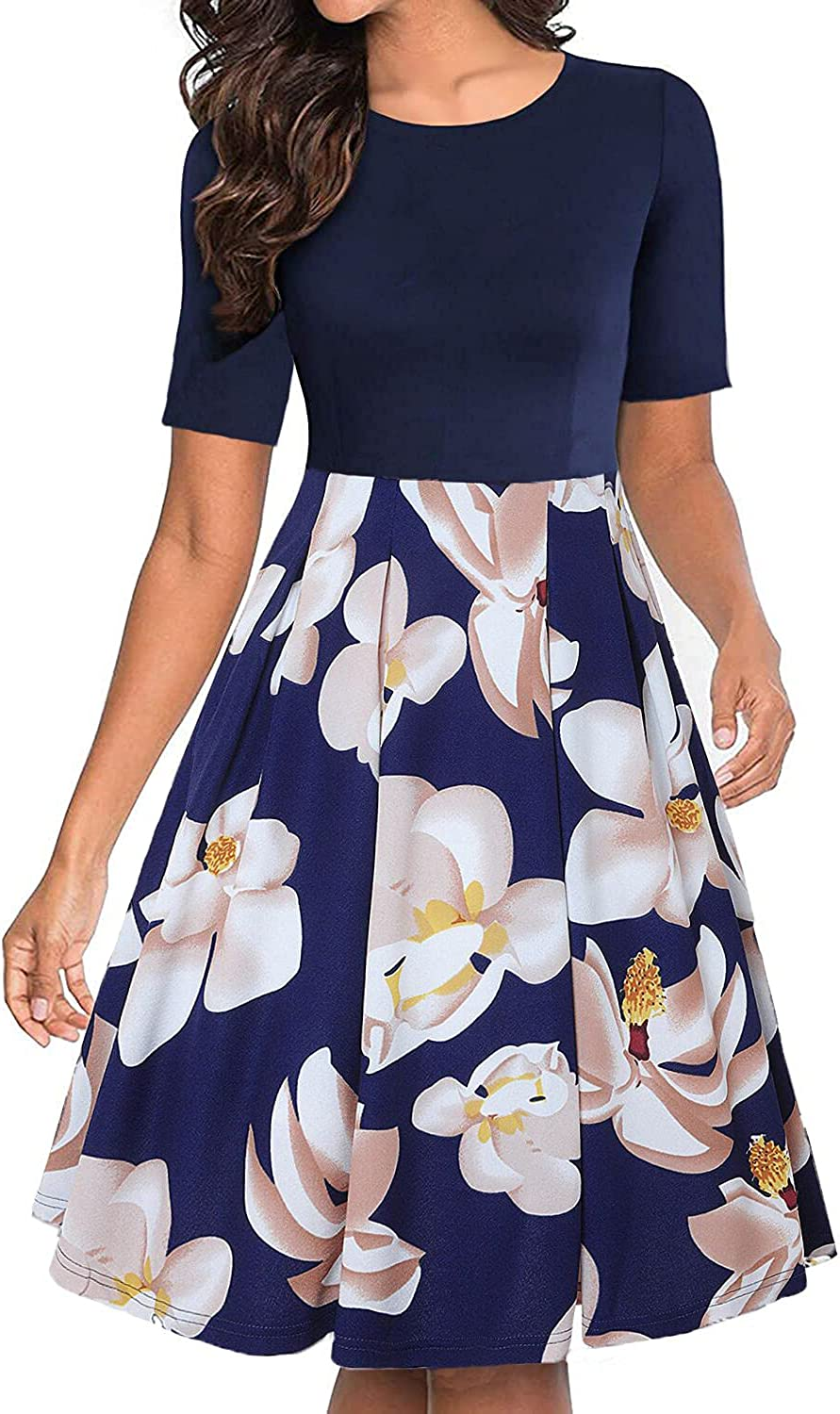 Women's Vintage Zip Floral Patchwork Cocktail Puffy Swing Casual Party Dress with Pockets