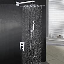 """BOHARERS Bathroom 10"""" Rainfall Shower Head with Handheld - Wall Mount Stainless Steel Multi-Function Rain Mixer Shower Combo, Polished Chrome"""