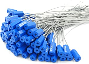 Pull-Tite Steel Security Cable Wire Seals Numbered Anti-Tamper Security Tags (Blue, Pack of 50pcs)