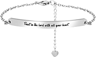 Inspirational Link Bracelet Motivational Mantra Stainless Steel Engraved Quote Jewelry Gift for Women Men Girls