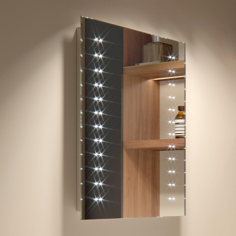 Soak Flacher LED-Badspiegel - Eleganter Lichtspiegel für das Badezimmer - 39 x 50 cm, batteriebetrieben, einfache Montage