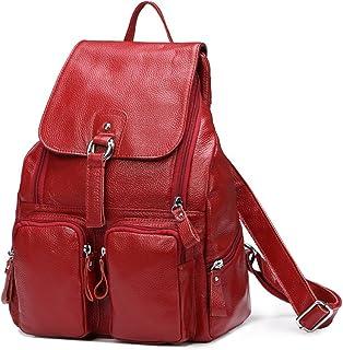 DRF Damen Rucksack aus Leder Daypack für Freizeit 28x38x12 cm #BG-120 Rot