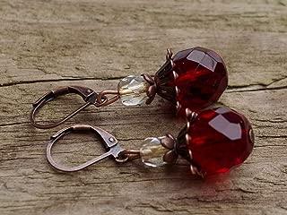 Ohrringe siam rot Polarisohrringe 925er Silber