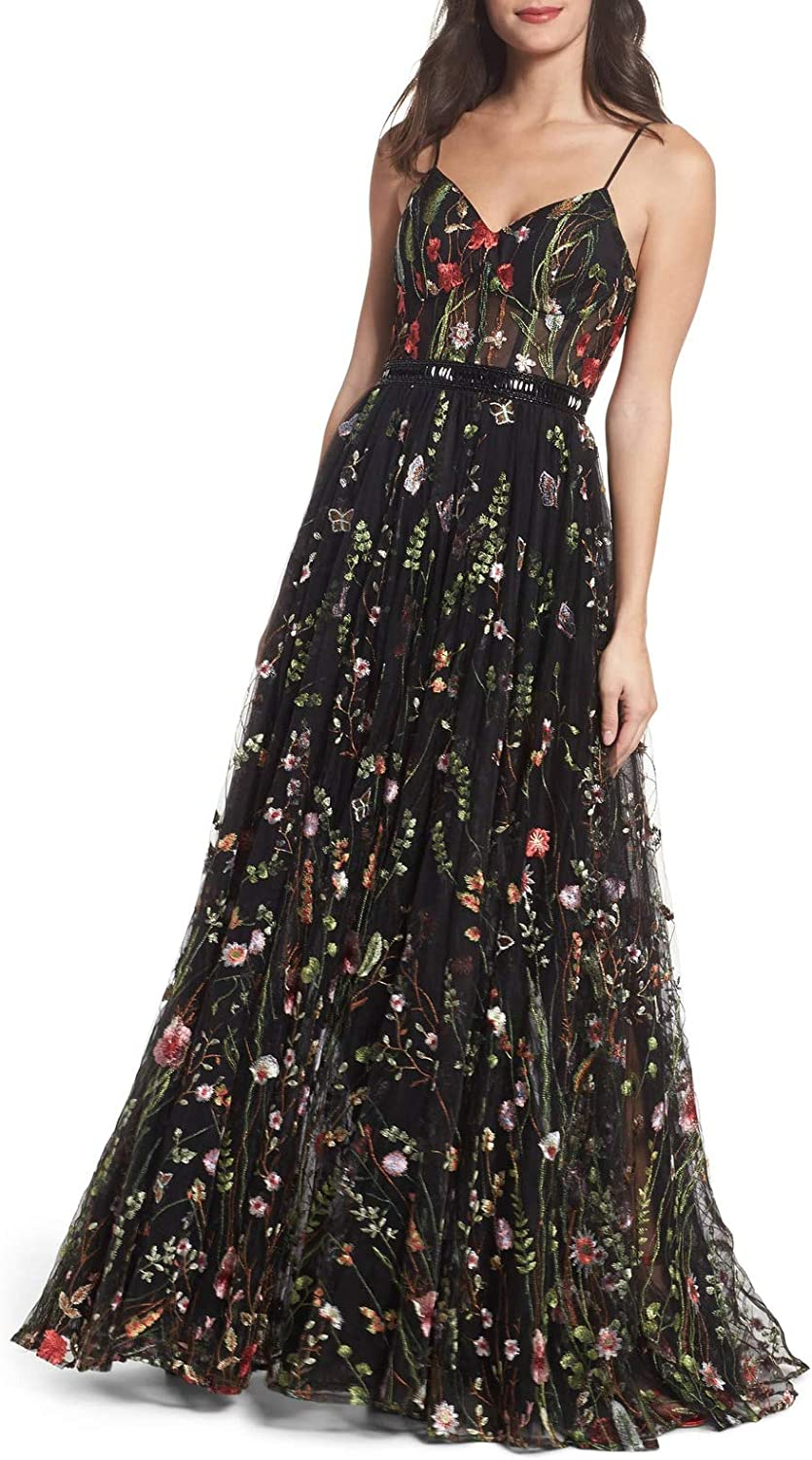 Aishanglina Women's Embroidered Bustier Evening Party Data Gown Wedding Cocktail Dress