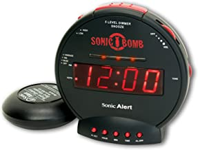 Sonic Bomb Dual Extra Loud Alarm Clock with Bed Shaker, Black | Sonic Alert Vibrating..