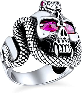 Personalize Large Mens Punk Rocker Biker Jewelry Halloween Gothic Caribbean Pirate Day Of Dead Simulated Red Ruby CZ Eyes ...
