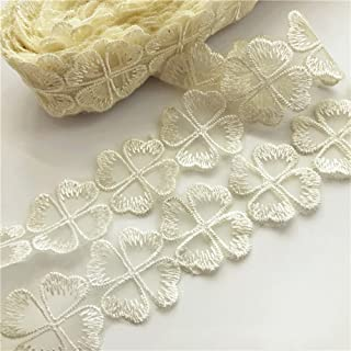 USIX 10 Yds Lace Edge Four Leaf Clover Trim Webbing Shamrock Lace Ribbon DIY Applique Patch by Yard Embroidered Fabric Trimming Applique for DIY Decoration Sewing Craft Shoes Clothes Dresses(Ivory)